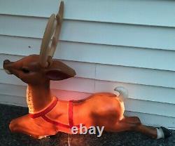 General Foam Christmas Reindeer For Santa's Sleigh Lighted Blow Mold Yard Decor