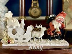 German Antique Style Santa Sleigh Reindeer Belsnickle