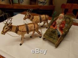 German SANTA / Belsnickle SLEIGH with TWO (2) DEER / Reindeer Candy Containers
