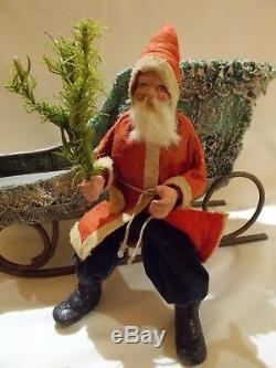German Santa Belsnickle Sleigh Deer Reindeer Candy Container