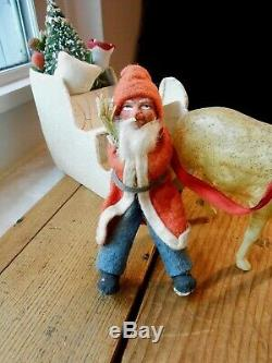 Germany Santa in Sleigh with Celluloid Reindeer