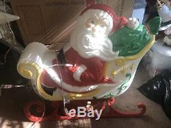 Grand Venture Blow Mold Santa Sleigh and Reindeers Set