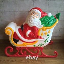 Grand Venture Santa Claus Sleigh Reindeer Christmas Outdoor Blow Mold Lighted