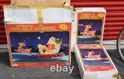 Grand Venture Santa Claus Sleigh With 3 Reindeer Christmas Blow Mold Lighted