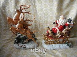 Grandeur Noel 2003 Santa in Sleigh and Reindeer Porcelain Set Christmas EUC