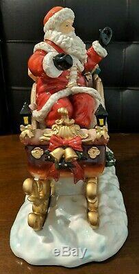 Grandeur Noel Porcelain Santa Sleigh & Reindeer Set 2003 Collector's Edition IOB