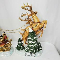Grandeur Noel Porcelain Santa Sleigh Reindeer Set 2003 Collectors Edition