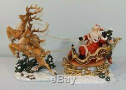 Grandeur Noel Porcelain Santa in Sleigh & Reindeer Set 2003 Edition 11-14 1/8