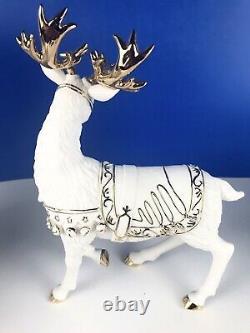 Grandeur Noel Santa, Sleigh & Reindeer Porclein Christmas Ensemble 2000