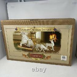Grandeur Noel Santa Sleigh Reindeer White Porcelain Christmas Ensemble 2000