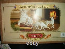 Grandeur Noel Santa Sleigh Reindeer White Porcelain Christmas Ensemble 2000 wbox