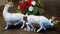 Grandeur Noel White Amp Gold Porcelain Santa Sleigh 2 Reindeer Large Figurines