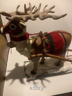 HOLIDAY CREATIONS ANIMATED LIGHTED MUSICAL SANTA SLEIGH REINDEER 36X18 Christmas