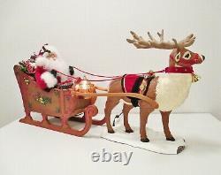 HOLIDAY CREATIONS Animated Musical Reindeer and Santa On Sleigh Original Box