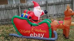 HUGE! 16 FOOT Santa Claus Sleigh Reindeer Airblown Inflatable Christmas Light Up