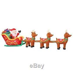 HUGE 16' Inflatable Airblown Santa in Sleigh with Reindeer Christmas Yard Decor
