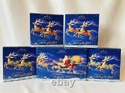 Hallmark 2005 Santa's Midnight Ride Complete Set 8 Reindeer & Santa in Sleigh