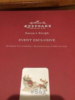 Hallmark Porcelain Sleigh Reindeer KOC Event Exclusive 2017 Santa Claus Ornament