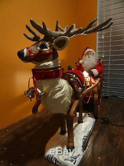 Holiday Creations 1998 Animated Santa Claus Sleigh Reindeer Christmas Motionette