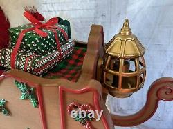 Holiday creations reindeer Santa sleigh animated large Xmas home decor