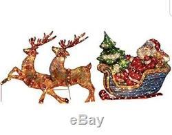 Holographic Santa in Sleigh 2 Reindeer Prelit Outdoor Holiday Lighting Twinkle