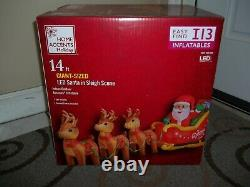 Home Accents 14ft Giant Sz LED Santa In Sleigh Scene Airblown Inflatable NIB