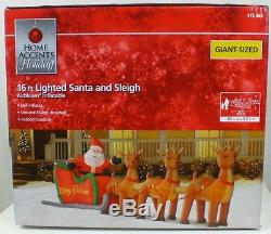 Home Accents 16 ft. HUGE Inflatable Airblown Lighted Santa Sleigh with Reindeer