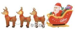 Home Accents Holiday Santa In Sleigh With Reindeer Scene