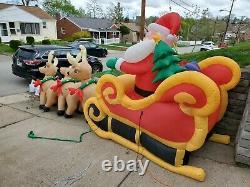 Huge 16ft Airblown Inflatable Light Up Christmas Santa on Sleigh Reindeer