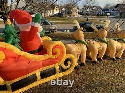 Huge 20ft Airblown Inflatable Light Up Christmas Santa on Sleigh Reindeer