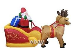 Inflatable Santa Claus In Sleigh With 2 Reindeer Size 7.5 ft Height. New, In Box