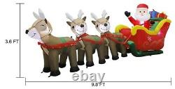 Inflatable Santa Claus Sleigh Reindeer Lighted Christmas Yard Outdoor 9.5 Ft L