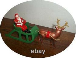 Inv747seldom Seen Reindeer Drawn Sleigh Rare Santabag Of Toys Barclay /manoil
