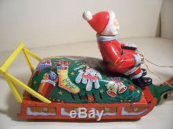 JAPAN BATTERY OPERATED CHRISTMAS SANTA CLAUS REINDEER SLEIGH TIN TOY