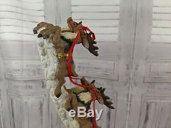 Jaimy santa sleigh reindeer sculpture decor centerpiece holiday village