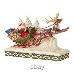 Jim Shore 6006635 Here Comes Santa! Santa on Sleigh with Reindeer 2020 NEW