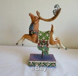 Jim Shore DELIVERING JOY Huge SANTA Sleigh Centerpiece DASH AWAY GREEN Reindeer