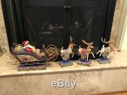 Jim Shore DELIVERING JOY SANTA Sleigh Centerpiece DASH AWAY Reindeer