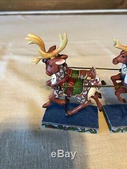 Jim Shore Dash Away All Santa and Reindeer Sleigh Christmas Figurine Set 4055048