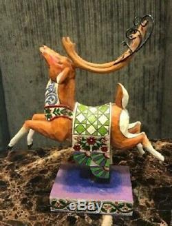 Jim Shore Delivering Joy Santa Sled and 3 Dash Away Reindeer RARE Hard to Find