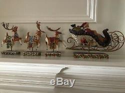 Jim Shore Delivering Joy Santa Sleigh 3 Reindeer