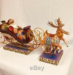 Jim Shore Delivering Joy Santa in Sleigh & Dash Away Reindeer 3pc Set