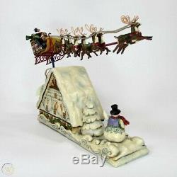 Jim Shore Dreams Fly Santa Sleigh Reindeer Flying Over House Snowman Christmas