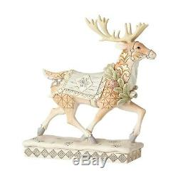 Jim Shore Enesco White Woodland Santa Sleigh, Walking And Prancing Reindeer Set