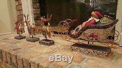 Jim Shore Santa Delivering Joy Sleigh and Dash Away Reindeer set- RETIRED 2004
