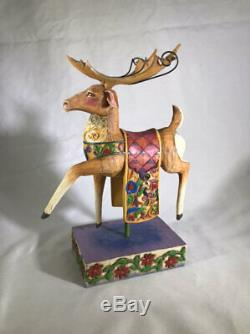 Jim Shore Set of 4 Santa in Sleigh & 3 Reindeer #4002991