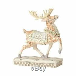 Jim Shore White Woodland Santa In Sleigh With 2-Reindeer (3-Set) Heartwood Creek