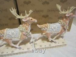 Jim Shore White Woodland Santa in Sleigh Ride Season & Adventure Awaits Reindeer