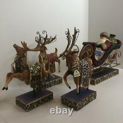Jim shore heartwood creek dash away 4pc Santa Claus in sleigh, 3 Reindeer. READ
