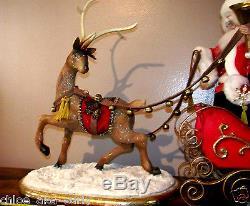 LARGE Mark Roberts Santa Sleigh Reindeer Deer Lot Christmas Doll Figure Set RARE